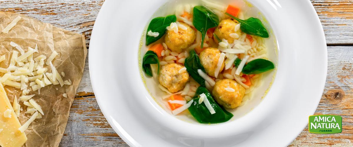 minestra riso polpette spinacini