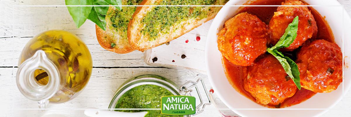 Italian aubergine meatballs with tomato sauce | Amica Natura Food Service